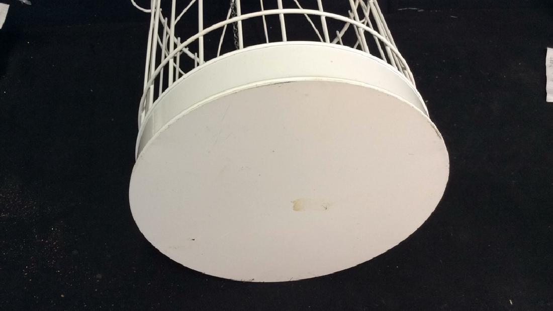 Vintage White Toned Metal Decorative Bird Cage - 6