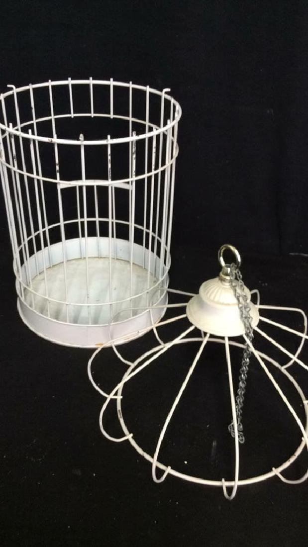 Vintage White Toned Metal Decorative Bird Cage - 7