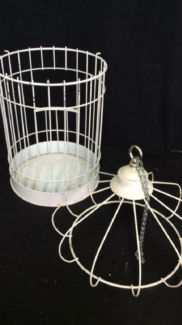 Vintage White Toned Metal Decorative Bird Cage - 7