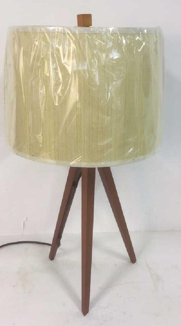 Wooden Tripod Lamp With Textured Fabric Shade