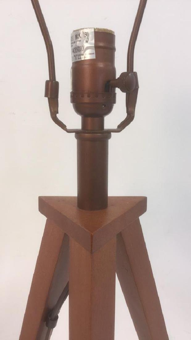 Wooden Tripod Lamp With Textured Fabric Shade - 3