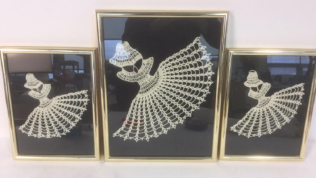 Lot 3 Abstract Crochet Lace Art Of Dancing Women