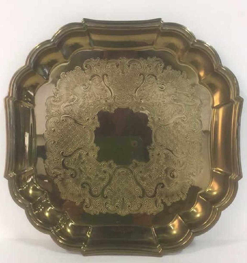 Brass Toned Metal Etched Tray W Scalloped Edges