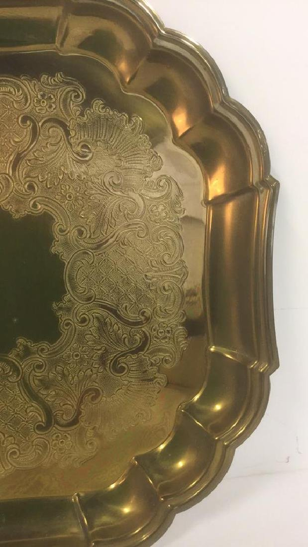 Brass Toned Metal Etched Tray W Scalloped Edges - 2