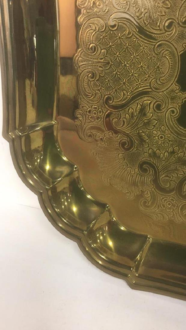 Brass Toned Metal Etched Tray W Scalloped Edges - 4