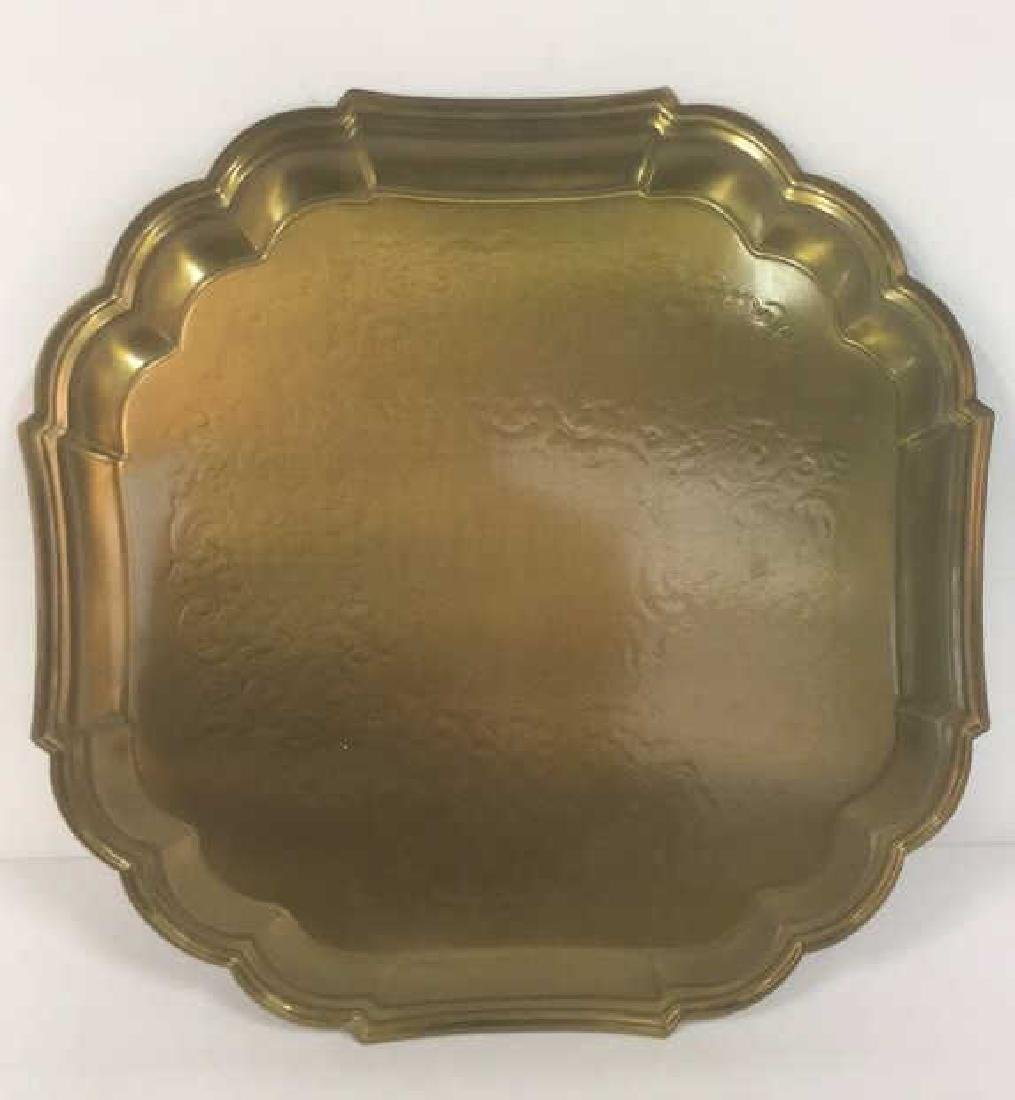 Brass Toned Metal Etched Tray W Scalloped Edges - 5