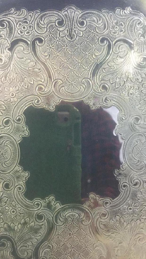 Brass Toned Metal Etched Tray W Scalloped Edges - 6