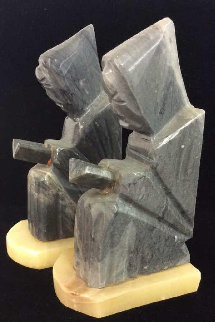Pair Onyx Figural Book Ends