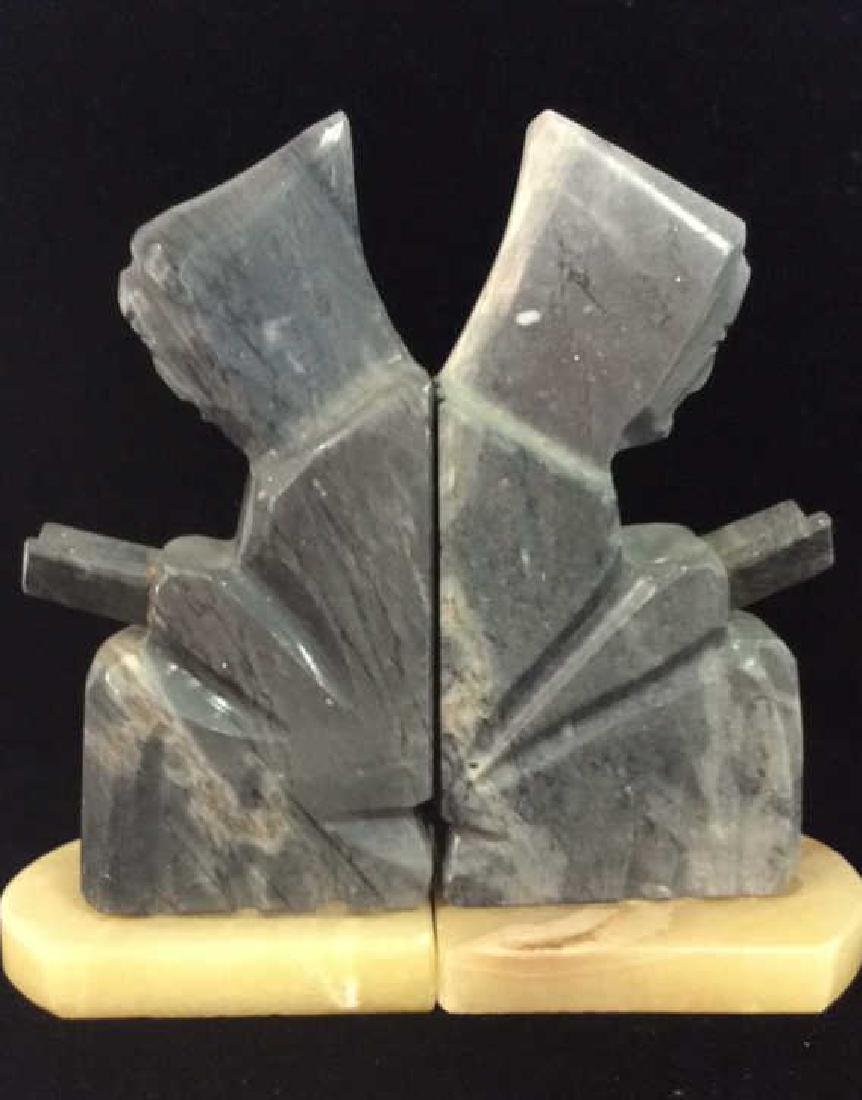 Pair Onyx Figural Book Ends - 5