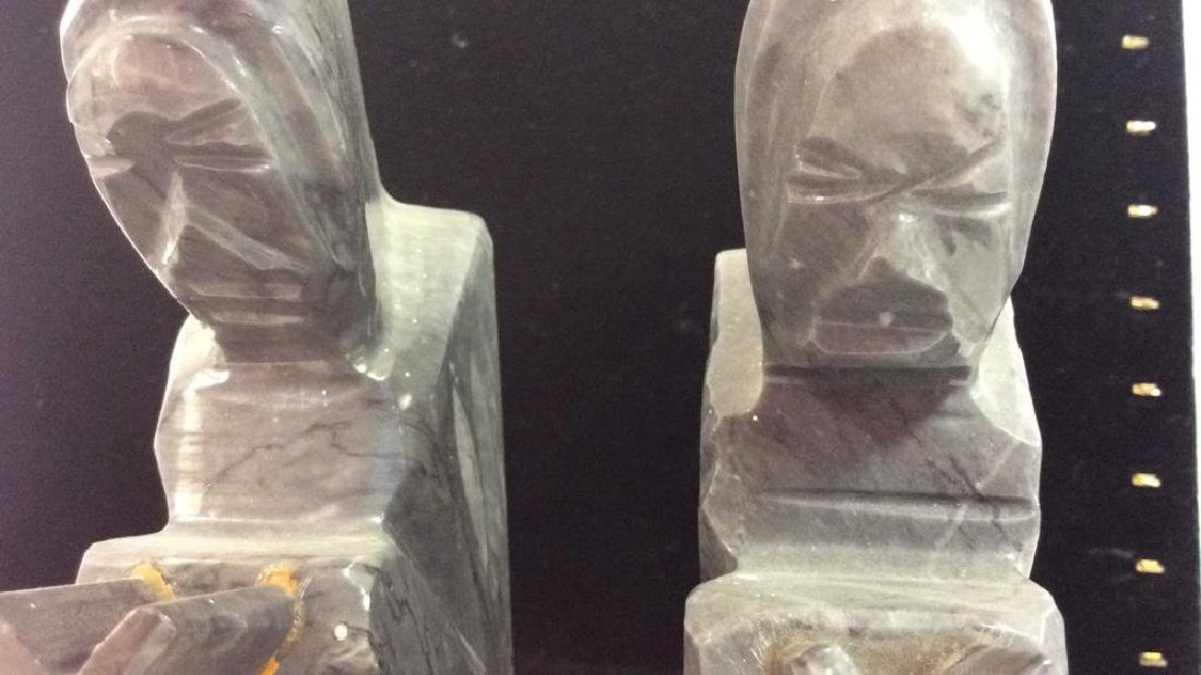 Pair Onyx Figural Book Ends - 8