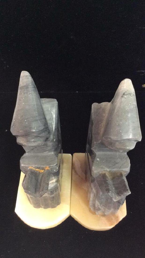 Pair Onyx Figural Book Ends - 9