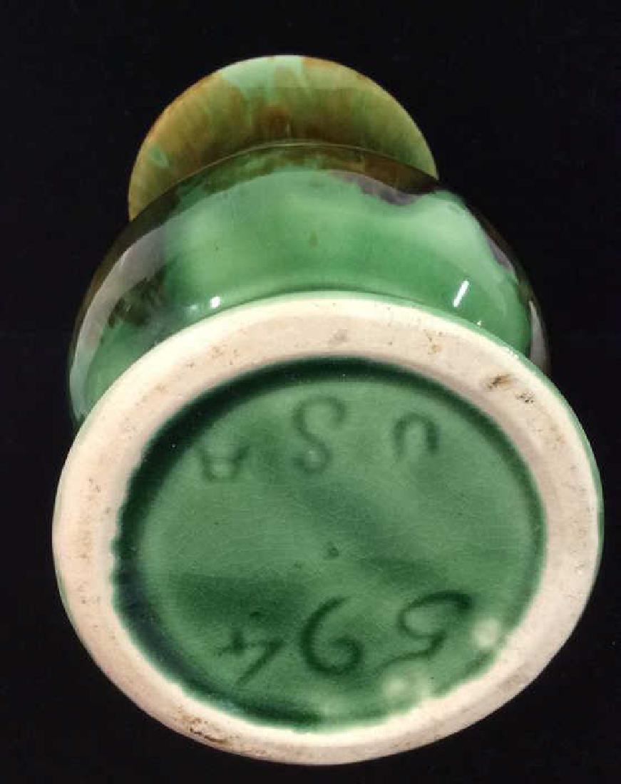 Green Toned Glazed Ceramic Vase, USA - 7