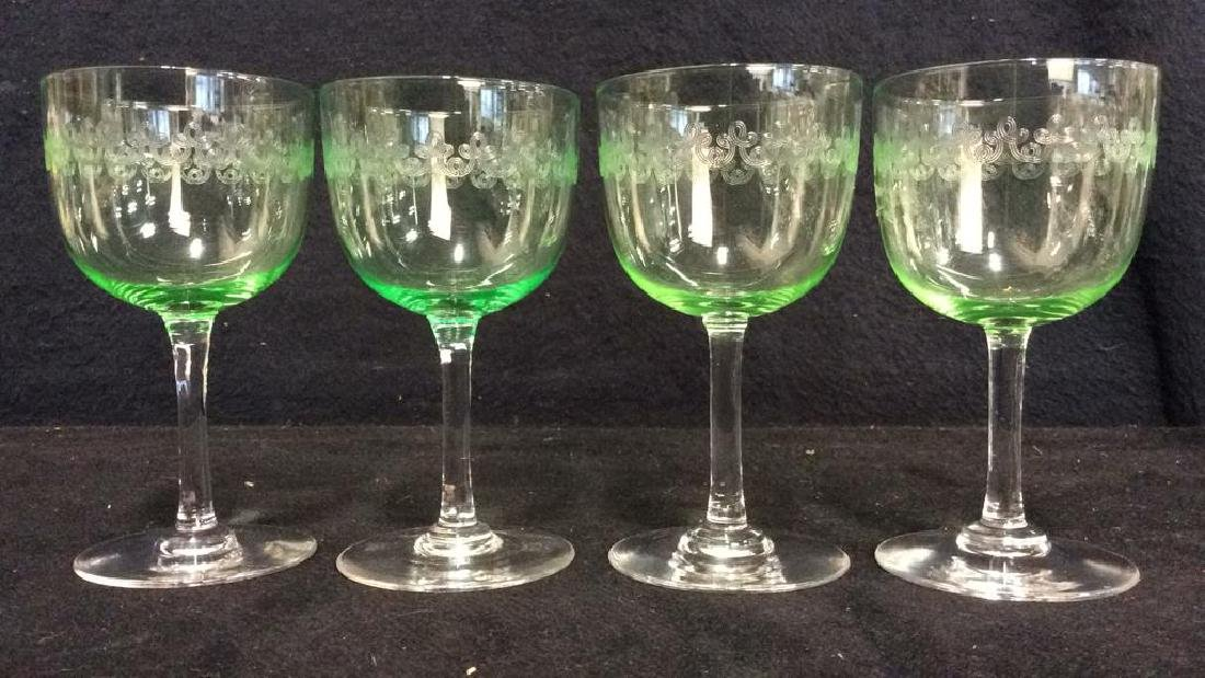 Set 4 Crystal & Glass Green Cordial Glasses