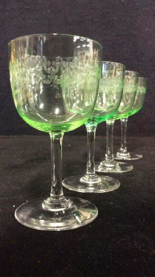 Set 4 Crystal & Glass Green Cordial Glasses - 2