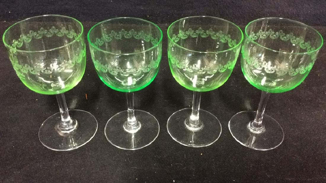 Set 4 Crystal & Glass Green Cordial Glasses - 3