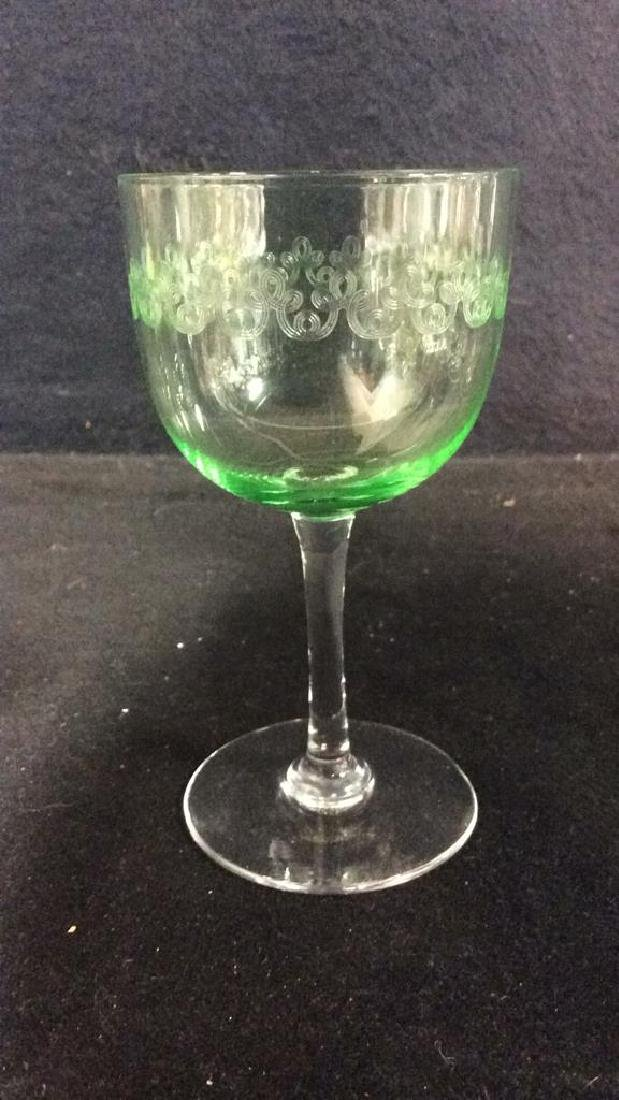 Set 4 Crystal & Glass Green Cordial Glasses - 4