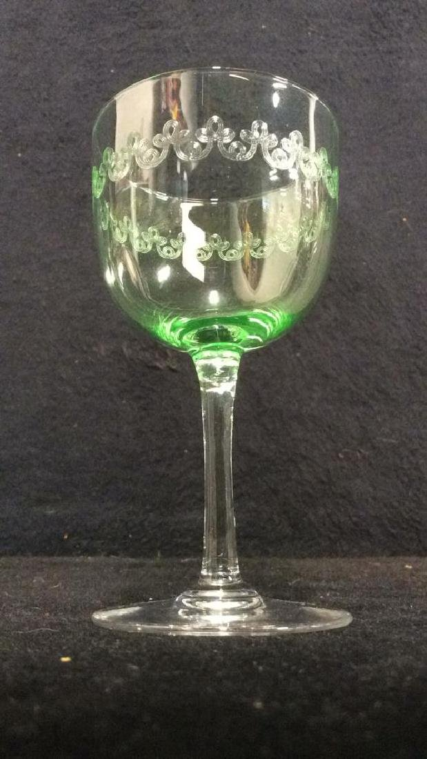 Set 4 Crystal & Glass Green Cordial Glasses - 5