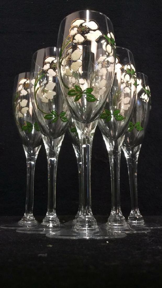 Lot 6 Floral Detailed Champagne Flutes - 4