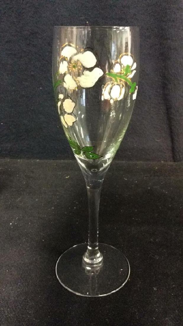 Lot 6 Floral Detailed Champagne Flutes - 5