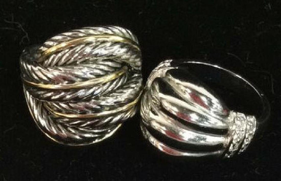Lot 2 Silver Toned Metal Rings jewelry