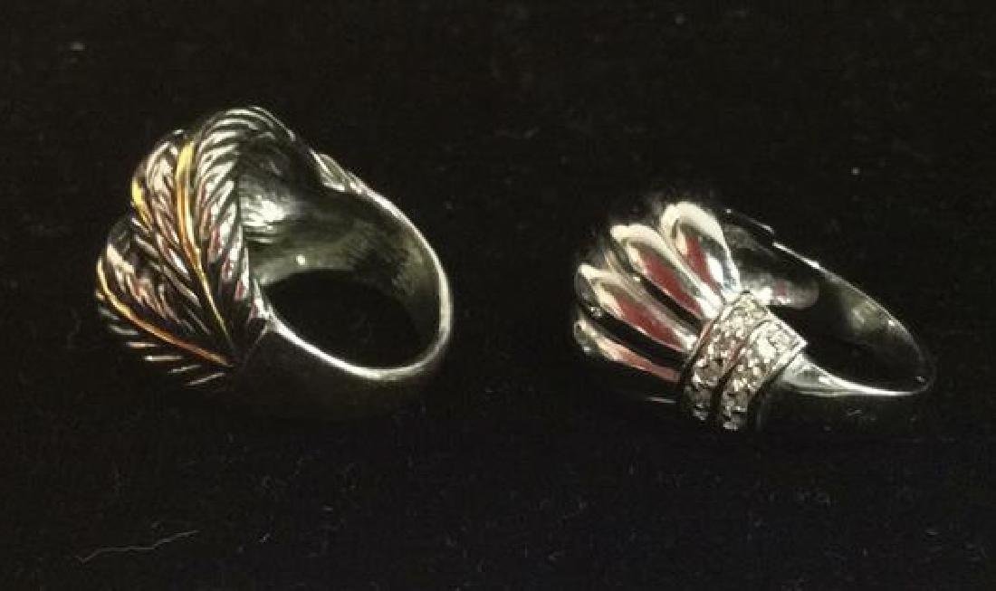 Lot 2 Silver Toned Metal Rings jewelry - 8