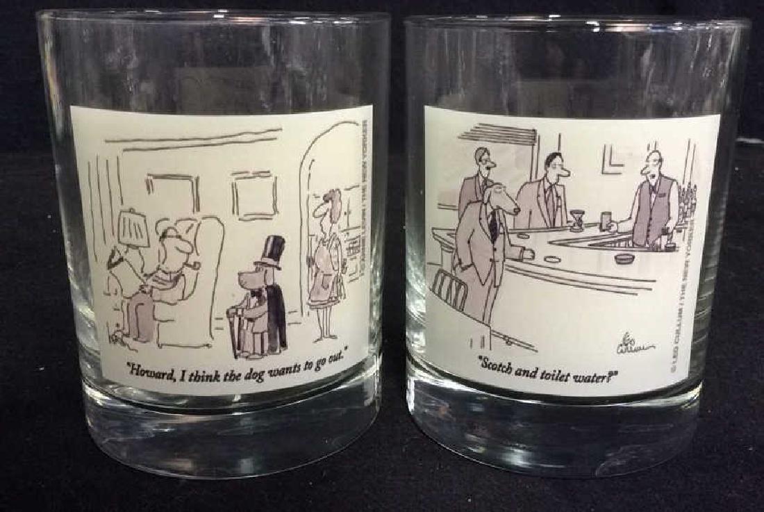 Lot 2 The New Yorker Comic Strip Beverage Glasses