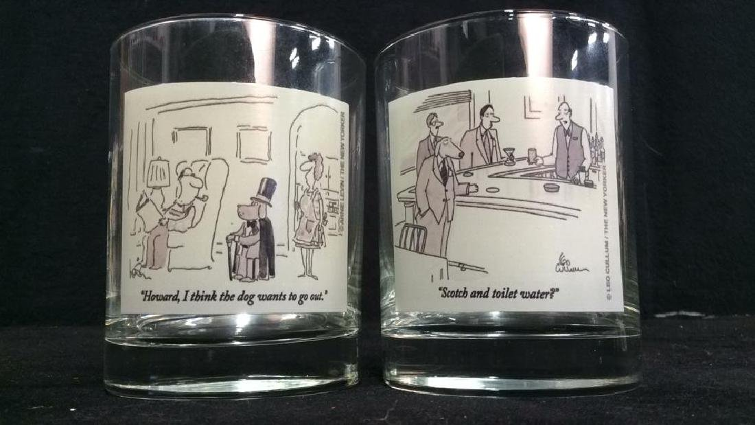 Lot 2 The New Yorker Comic Strip Beverage Glasses - 2