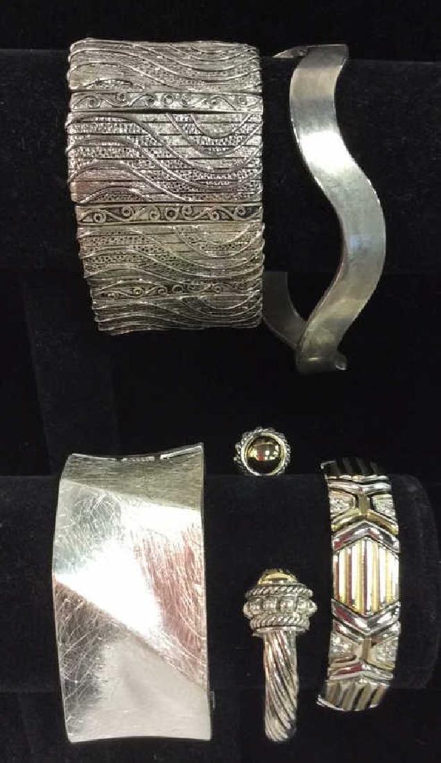 Lot 5 Assorted Silver Toned Metal Cuff Bracelets