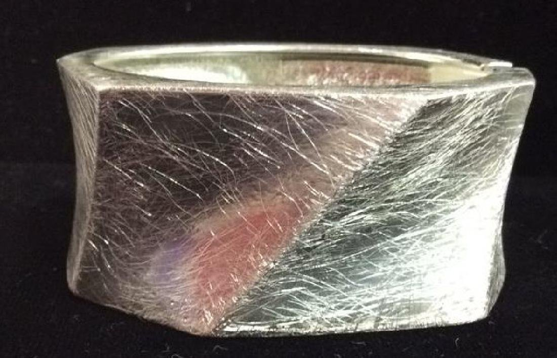 Lot 5 Assorted Silver Toned Metal Cuff Bracelets - 2