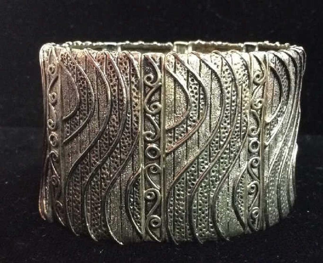 Lot 5 Assorted Silver Toned Metal Cuff Bracelets - 6