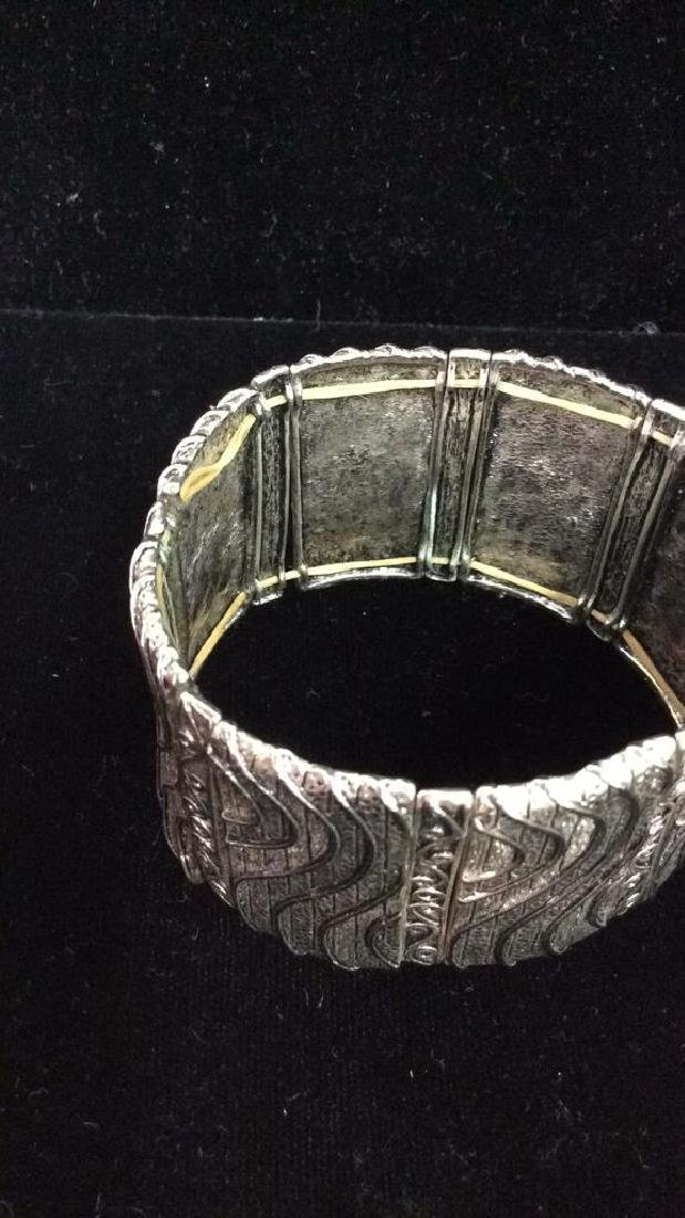 Lot 5 Assorted Silver Toned Metal Cuff Bracelets - 7