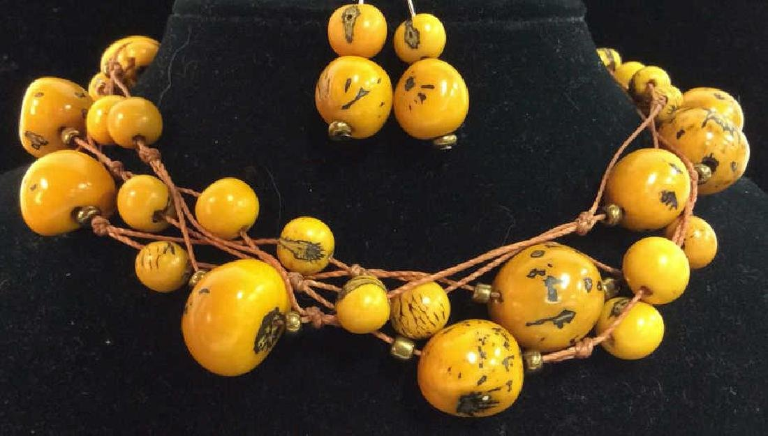 Lot 2 Orange Toned Beaded Necklace W Earrings