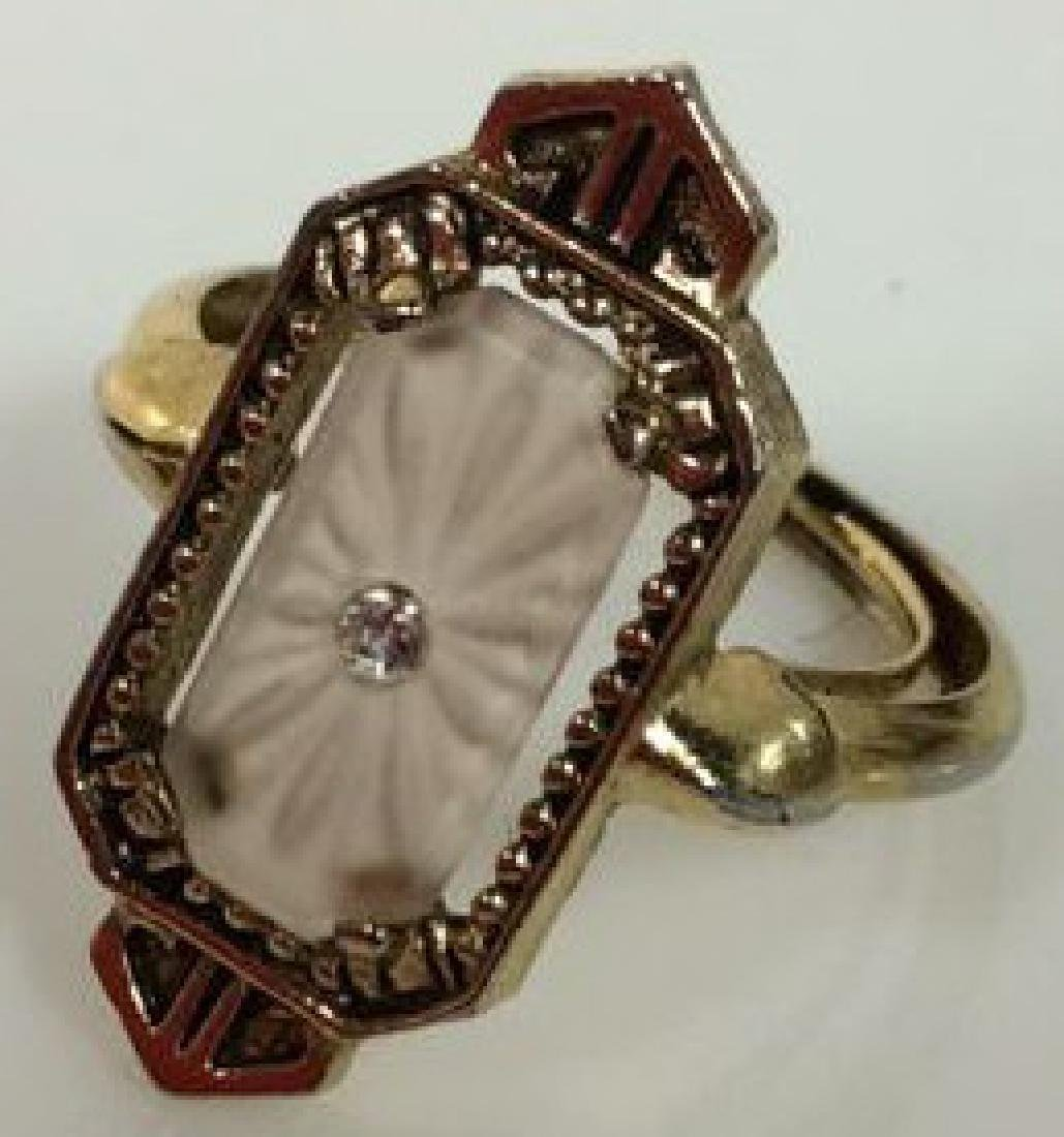AVON Gold Toned Metal Art Deco Ring