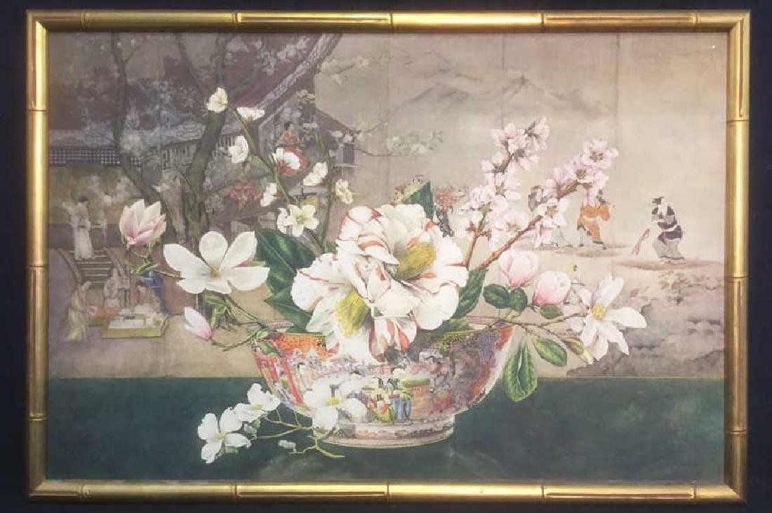 Framed Asian Style Floral Print