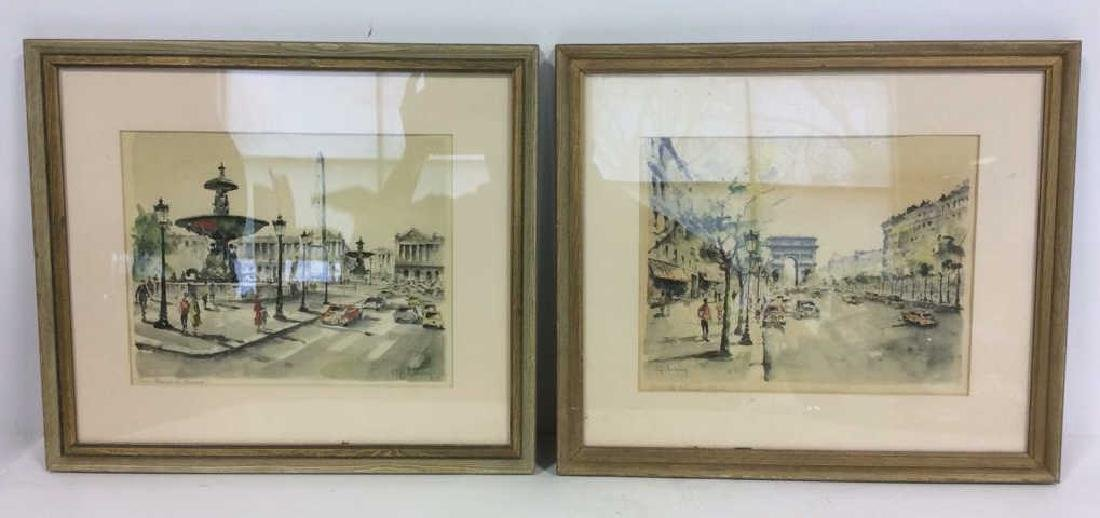 Lot 2 G LELONG Framed Artwork