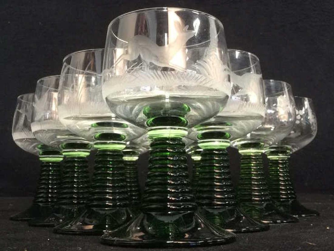 Set 10 Frosted Crystal & Glass Cordial Glasses