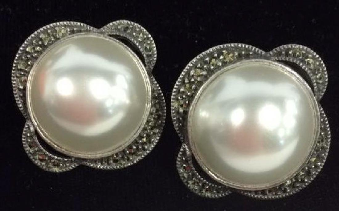 Sterling Silver W Pearl Detail Earrings