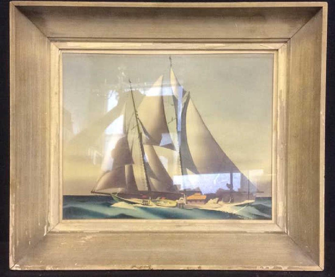 Framed Nautical Sail Vessels at Sea Artwork