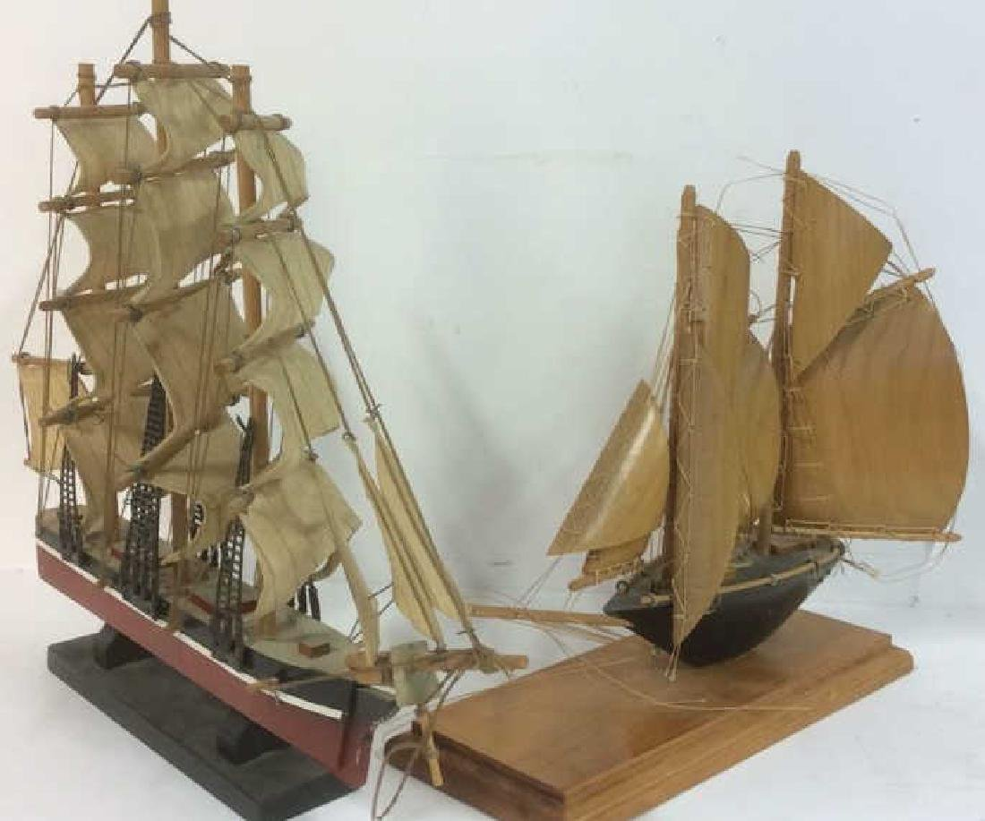 Lot 2 Nautical Sailboat Ship Sculptures