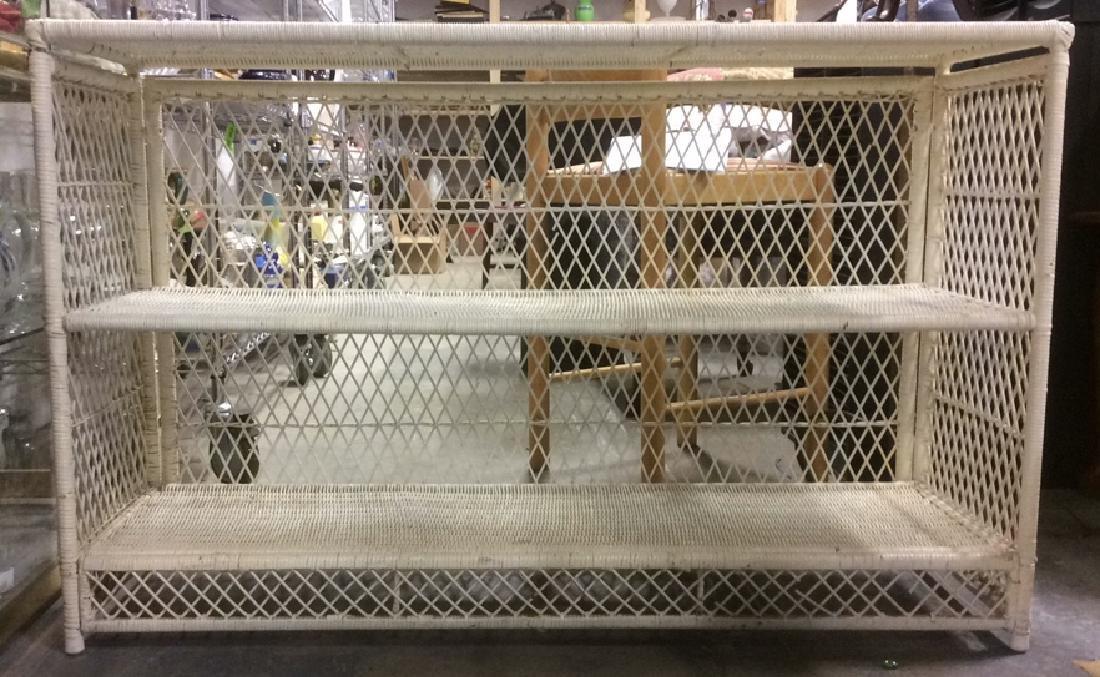 White Toned Wicker and Wood Display Shelf