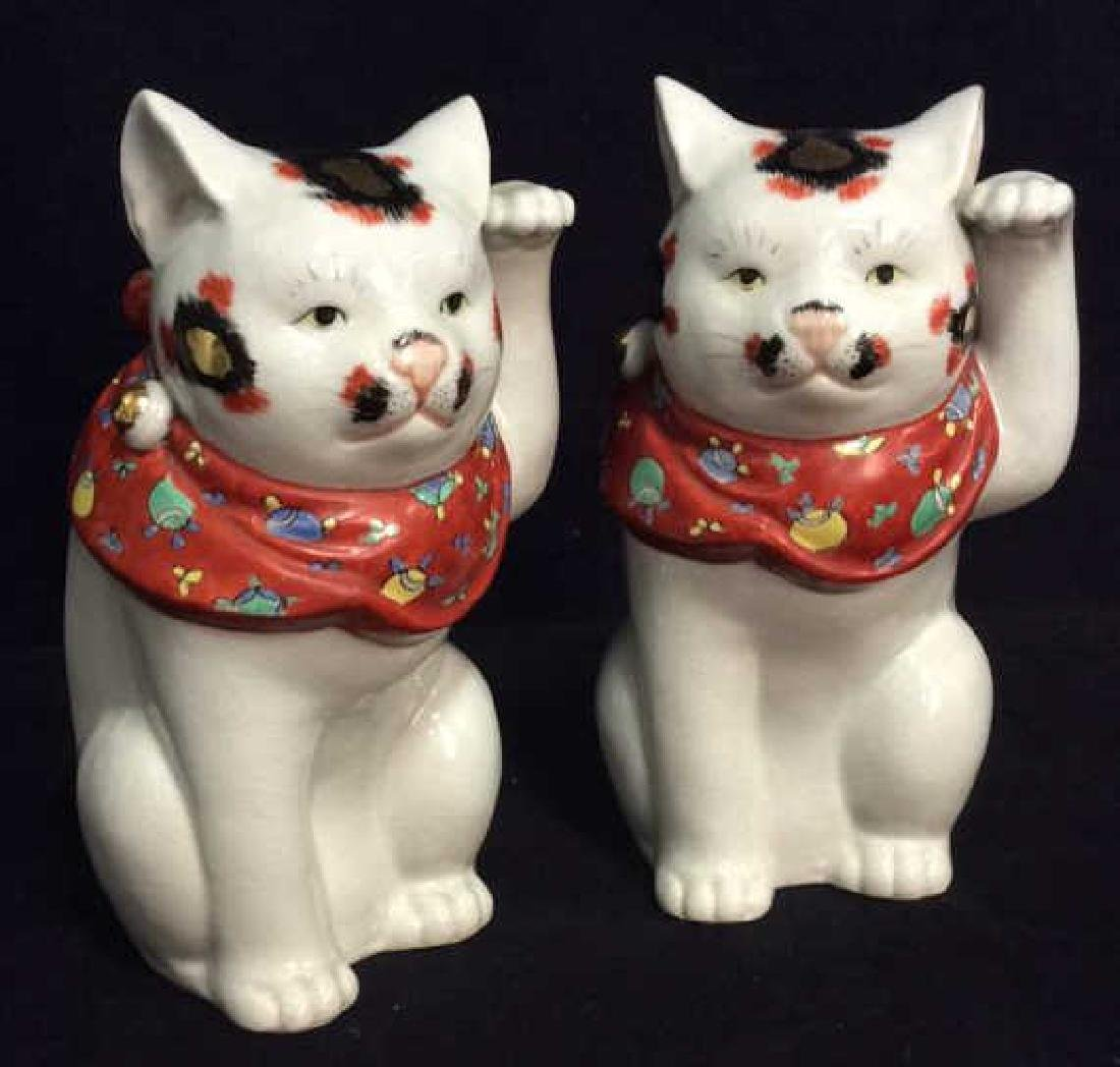 Pair Asian Lucky Cats Ceramic Sculptures