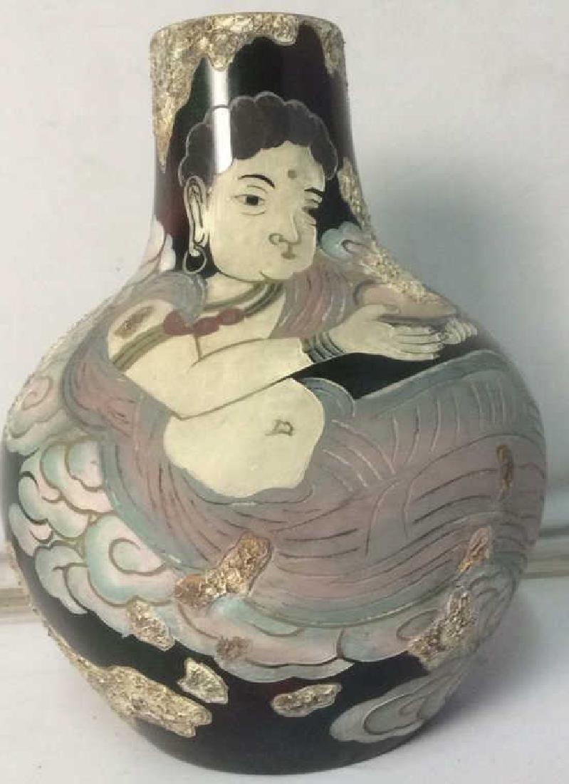 Intricately Detailed Ceramic Asian Vase