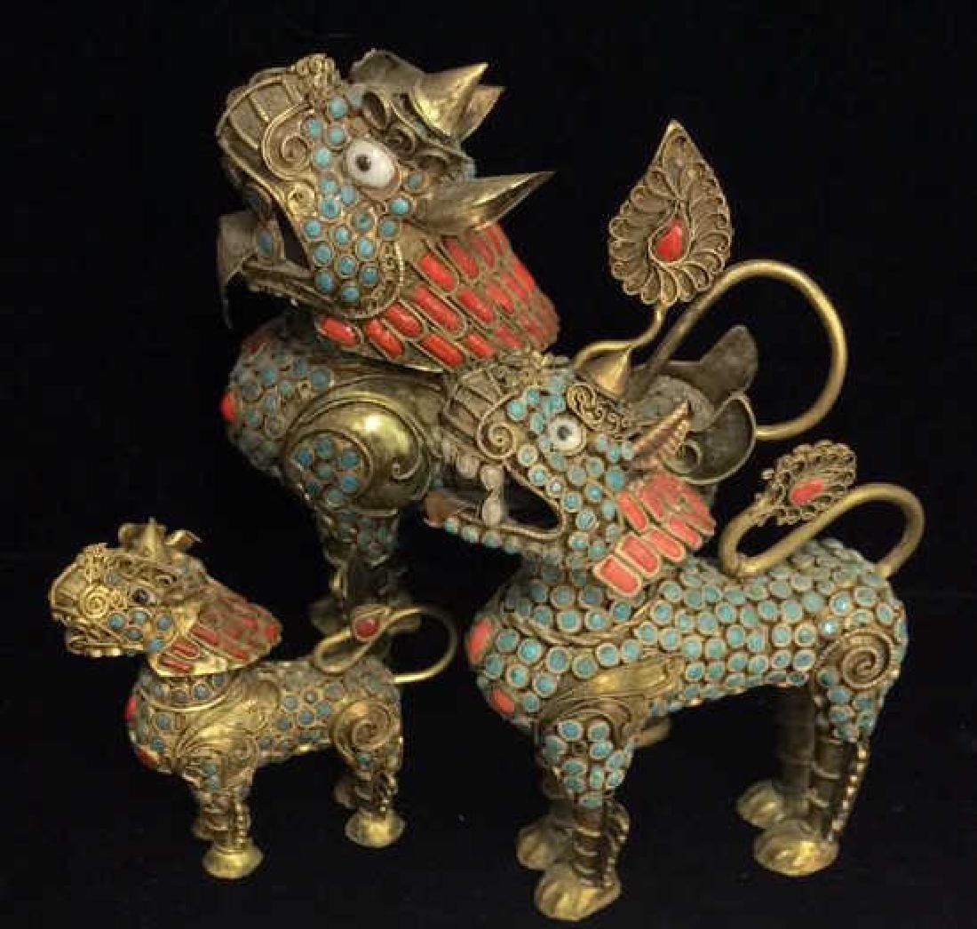 Lot 3 Brass Toned Oriental Temple Dog Censers