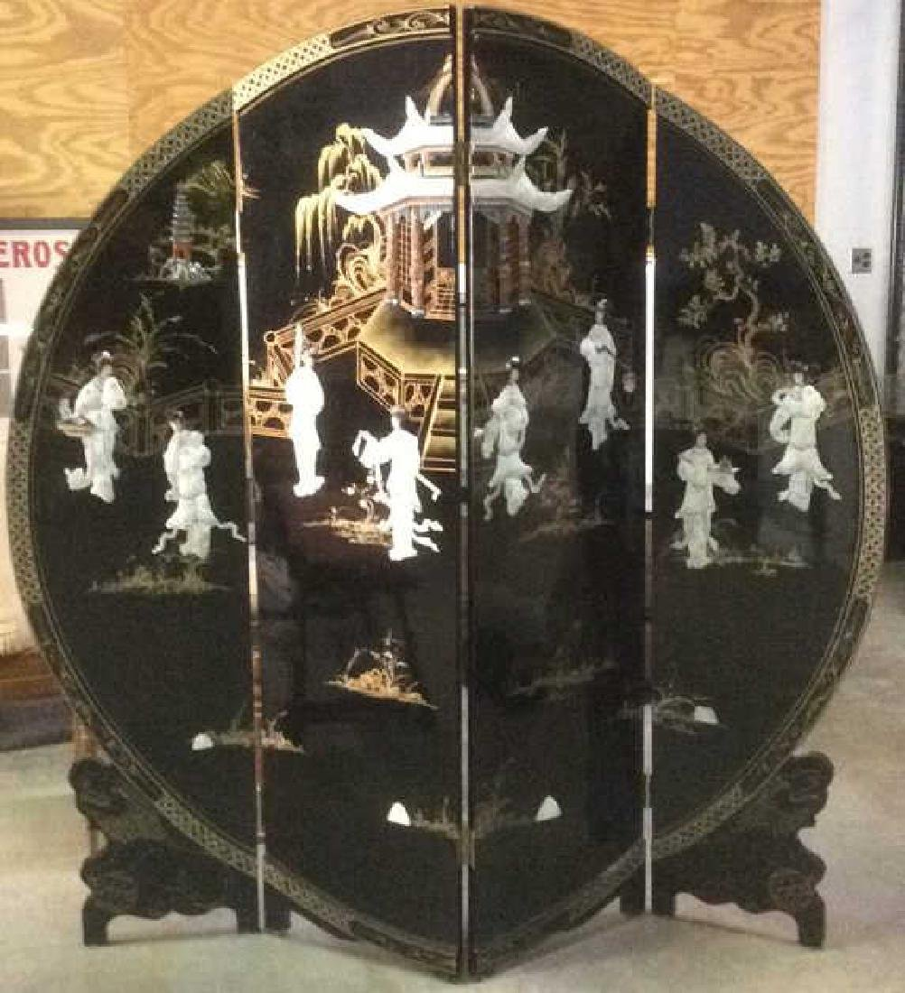 Chinese Chinoiserie Carved Round Artwork Screen