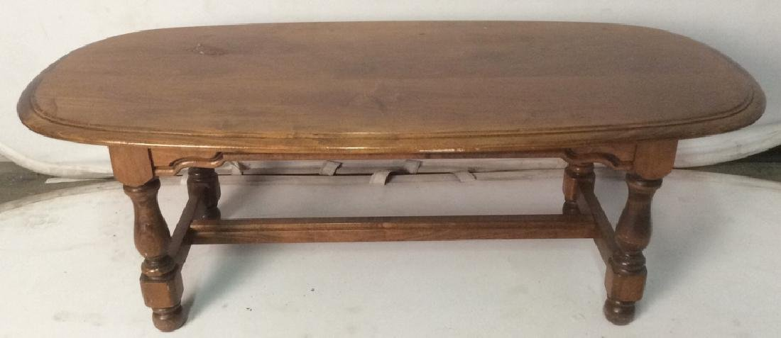 Carved Wooden Oval Coffee Table