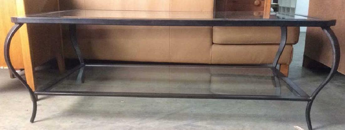 Black Toned Metal Frame Glass Coffee Table