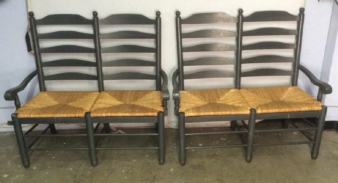 Pair Ladder Back Rush Seat  Benches Loveseats