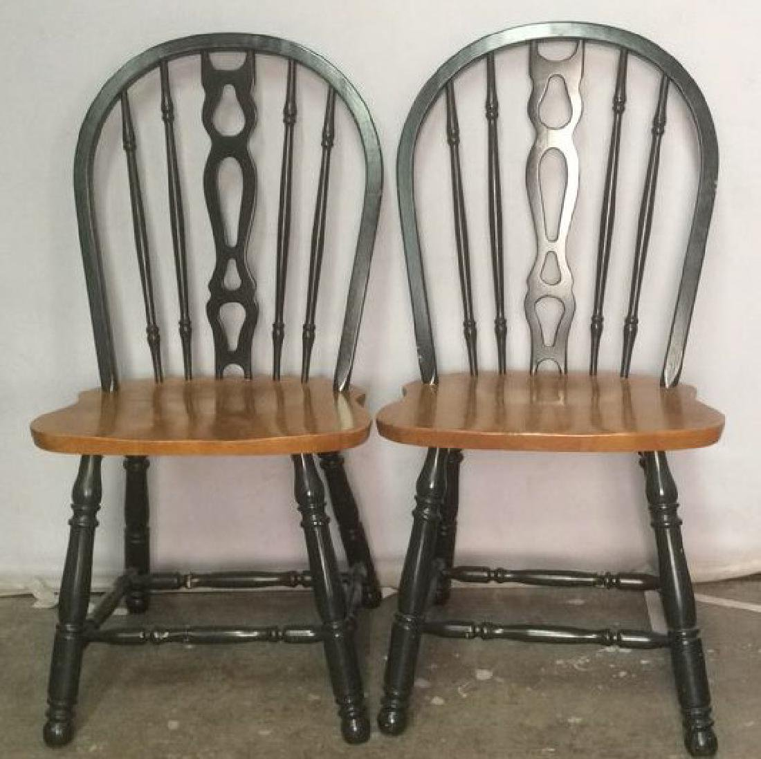 Pair Wooden Spindle Back Side Chairs