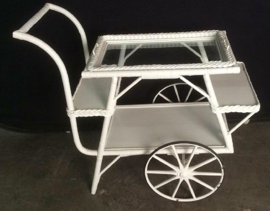 VIntage White Toned Wicker Tea Cart