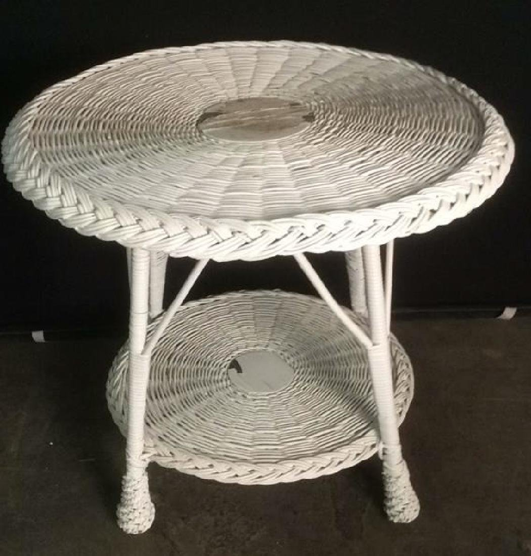 Vintage Round White Toned Wicker Table